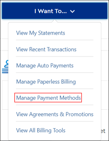Image of Manage Payment Methods on drop-down menu