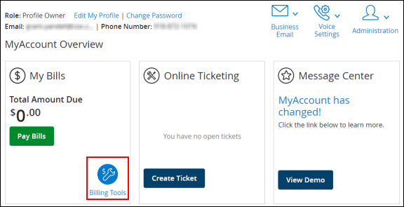 Image of MyAccount Overview window with Billing Tools selected