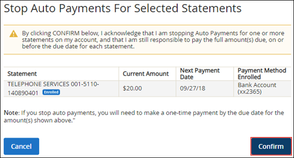 Image of Stop EasyPay review page on MyAccount highlighting the Confirm button