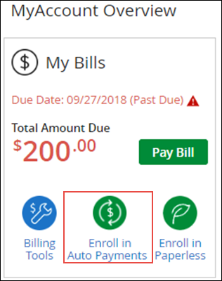 Image of My Bill section on MyAccount, highlighting Enroll in Auto Payments