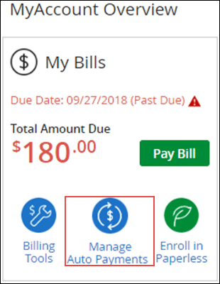 Image of My Bill section on MyAccount, highlighting Manage Auto Payments
