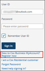 Image of New to Cox Business MyAccount? Click to register