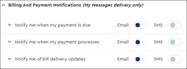 image of Billing and Payment Notification Options
