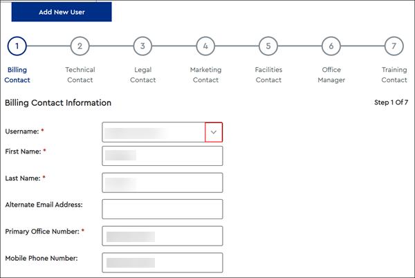 Image of Billing Contact drop-down menu