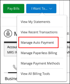 Image of Manage Auto Payment on drop-down menu