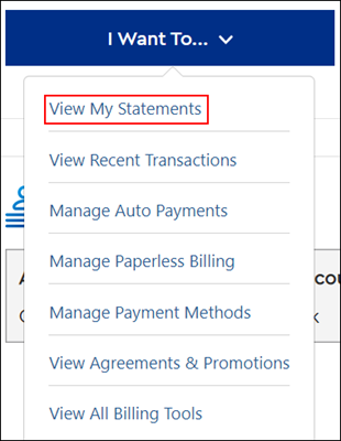 Image of View My Statements on drop-down menu