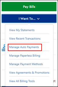 Image of Manage Auto Payments on drop-down menu