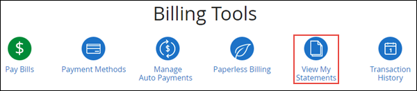 Image of Billing Tools window with View Statements selected