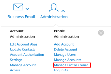 Image of MyAccount Administration section highlighting Manage Profile Owner
