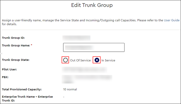 image of clicking radio button for in or out of service