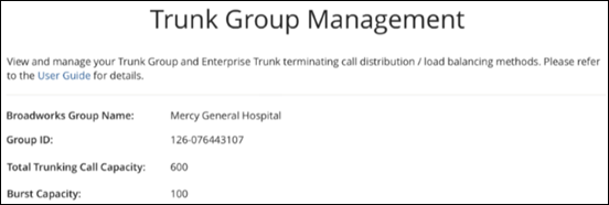 image of the trunk group management window in myaccount