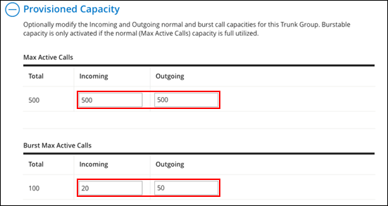image of the call capacity fields to update