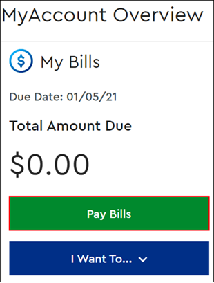 Image of MyAccount Overview window with Pay Bills