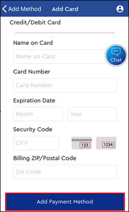 Image of Add Card screen