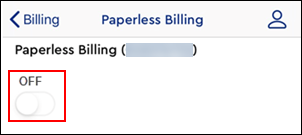 Image of Paperless Billing toggle button