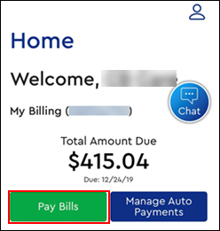 Image of Home Screen Pay Bills button