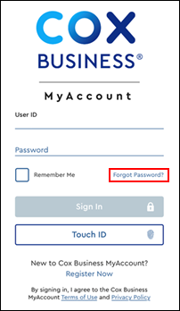 Image of Forgot Password link