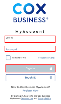 Image of MyAccount Sign In screen