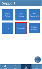 Image of Support screen - Contact Us