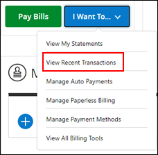 Image of View Recent Transactions on drop-down menu