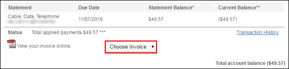 Image of View or Pay Bill window