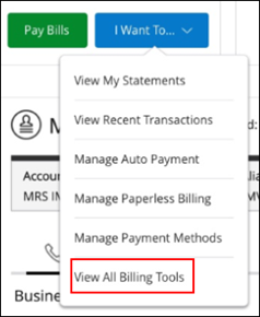 Image of View Billing Tools on drop-down menu