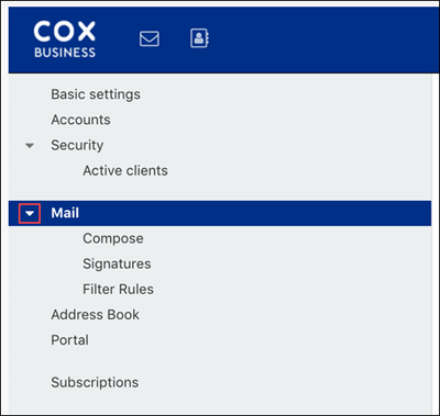 image of the mail settings