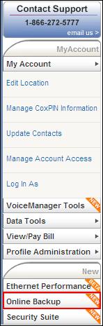 MyAccount Online Backup navigation bar