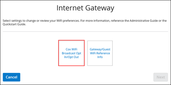 Image of the Internet Gateway page with the opt in or opt out button highlighted