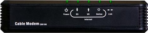 Vista frontal del módem CM100