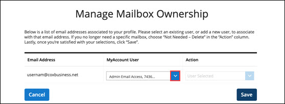 Image of the manage mailbox ownership screen