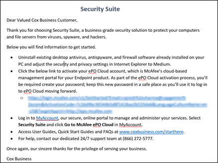 Image of McAfee Endpoint Protection email sample