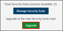 Image of Security Suite page with upgrade button highlighted