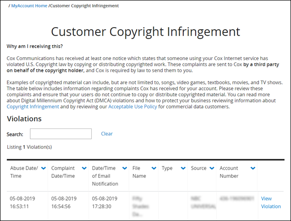image of the customer copyright violation page in myaccount