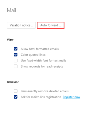 Image of Mail Settings highlighting Auto forward