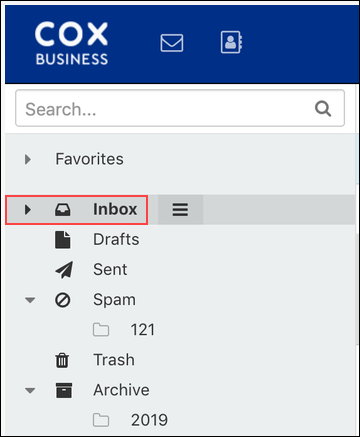 image of the inbox screen