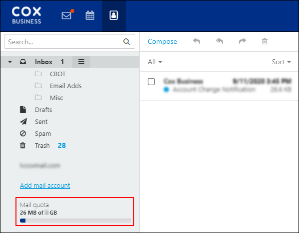 image of a sample inbox with mail quota information highlighted