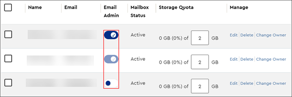 image of the toggle to set or remove a user as email admin