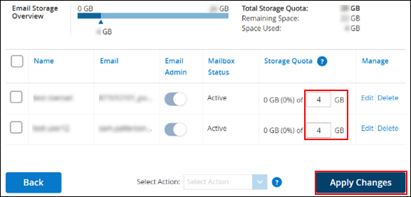 image of updating the storage allocation per user