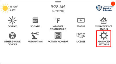 image of the settings menu with the advanced settings icon outlined in a red box