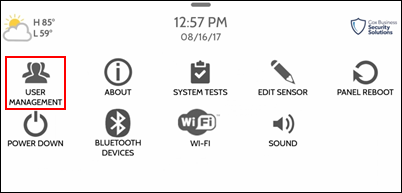 Image of the advanced settings menu with the user management icon outlined with a red box