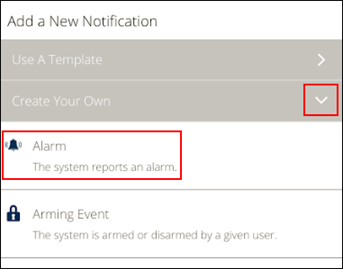 image of the mobile app alarm notification icon