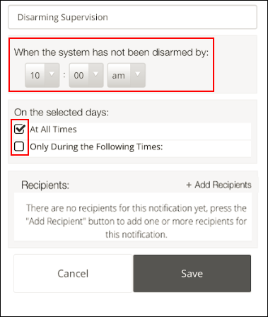 image of the disarming notification options in the mobile app
