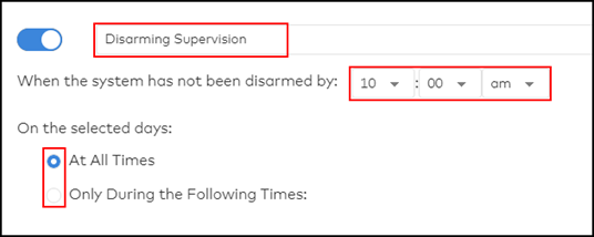 image of the subscriber portal disarm notification options