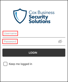 image of the cox business security mobile app log in screen