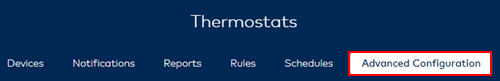image of the thermostats advanced configuration option