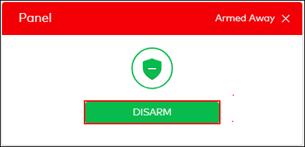Image of the subscriber portal panel armed confirmation