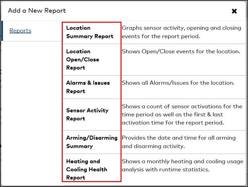 Image of Add New Report pop-up window