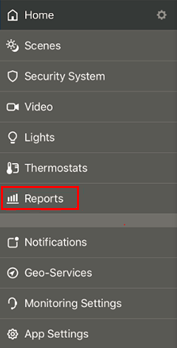 image of menu with Reports selected
