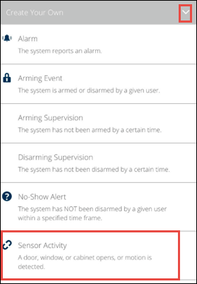 image of the mobile app sensor activity option